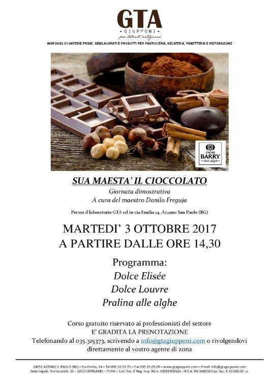 3 Ottobre 2017 – Sua Maestà Il Cioccolato
